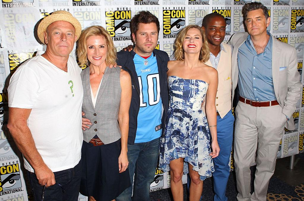 """Corbin Bernsen, Kirsten Nelson, James Roday, Maggie Lawson, Dule Hill, and Timothy Omundson (""""Psych"""") at Comic-Con International on July 12, 2012 in San Diego, California."""