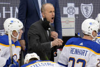FILE- In this May 8, 2021, file photo, Buffalo Sabres coach Don Granato directs his team during the third period of an NHL hockey game against the Pittsburgh Penguins in Pittsburgh. (AP Photo/Gene J. Puskar, File)