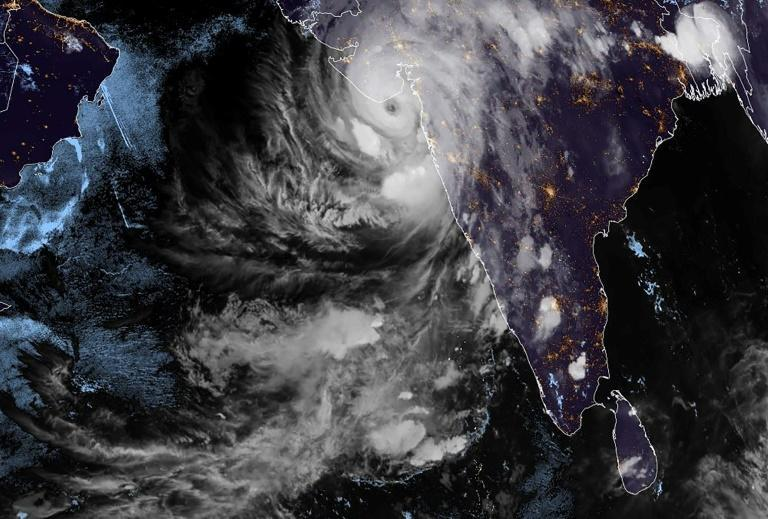 This handout satellite image shows Cyclone Tauktae over western India on May 17, 2021