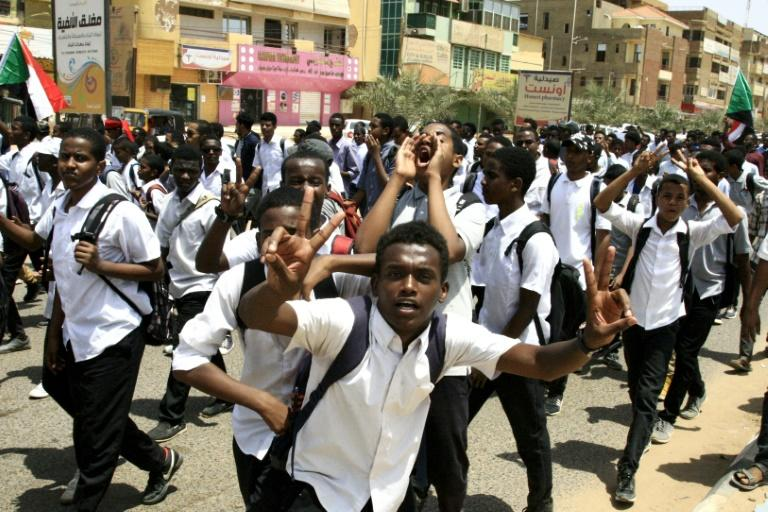 Sudanese schoolchildren took the streets of Khartoum a day after five teenagers were killed in a central town