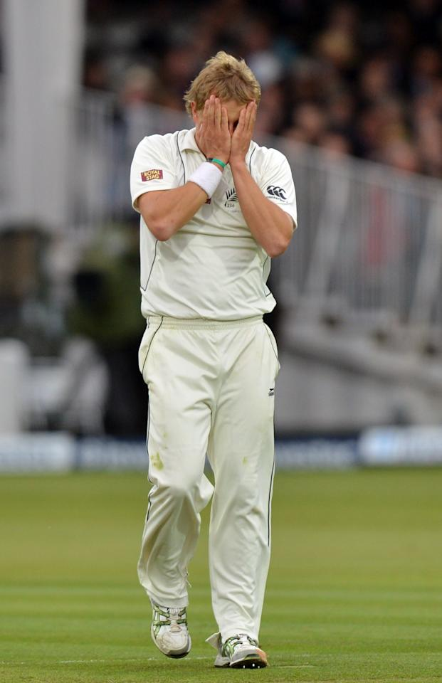 New Zealand's Neil Wagner reacts during the first test at Lord's Cricket Ground, London.