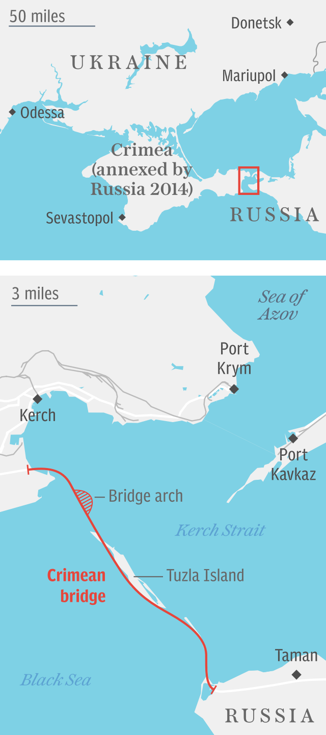 Crimean bridge map