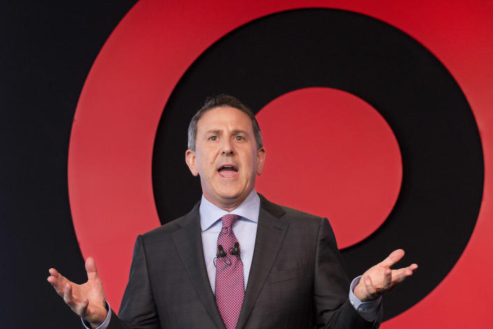 Target Chairman and CEO Brian Cornell speaks to a group of investors, in New York. On Monday, March 20, 2017. (AP Photo/Mark Lennihan, File)