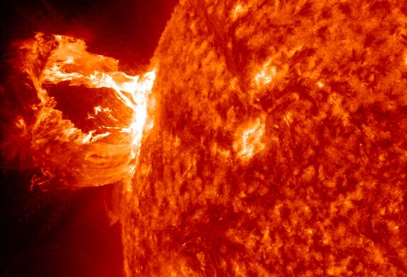 A beautiful prominence eruption shot off the east limb (left side) of the sun on Monday, April 16, 2012. This view of the flare was recorded by NASA's Solar Dynamics Observatory.