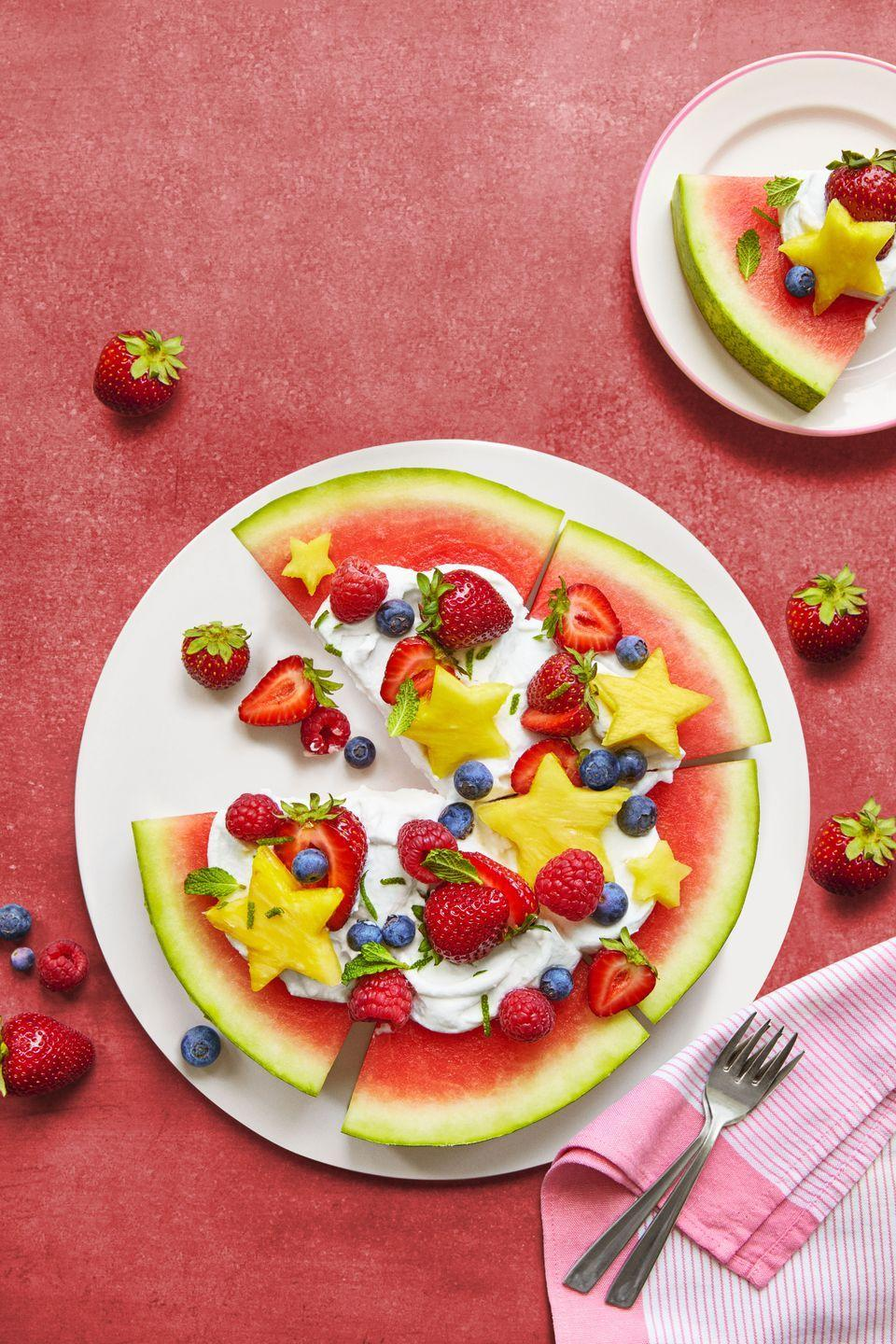 <p>This healthy berry dessert recipe is so simple to make — just top a round of watermelon with whipped cream, strawberries and blueberries, then slice into pizza-shaped pieces.</p>