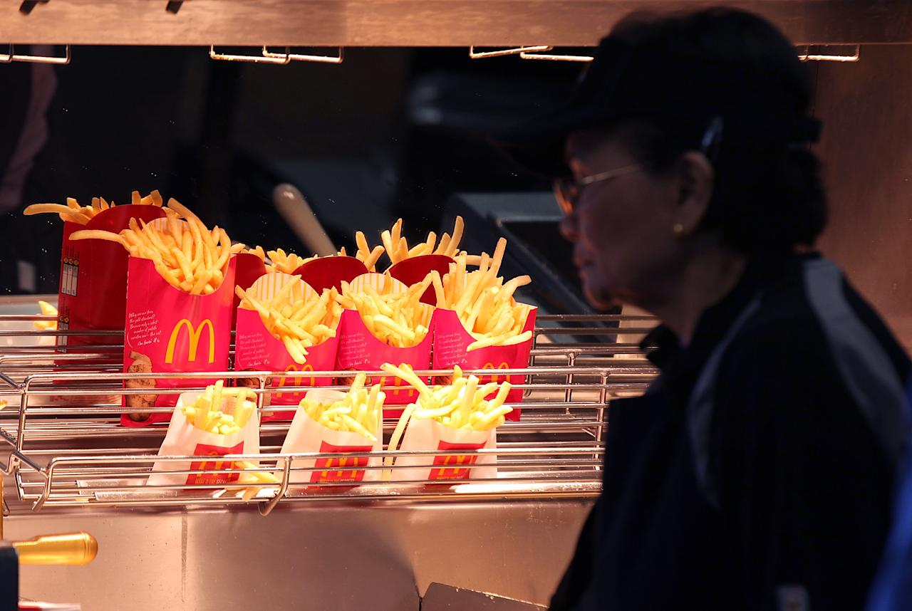 SAN FRANCISCO, CA - APRIL 19:  McDonald's french fries sit under a heat lamp during a one-day hiring event at a McDonald's restaurant on April 19, 2011 in San Francisco, California.  Hundreds of job seekers filled out applications and were interviewed at a San Francisco McDonald's restaurant during a one-day nationwide event at the chain as they look to fill 50,000 positions at stores nationwide.  (Photo by Justin Sullivan/Getty Images)