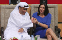 FILE - In this Oct. 27, 2018 file photo, Israeli Culture and Sport Minister Miri Regev, right, shakes hands with Mohamed Bin Tha'loob Al Derai, President of UAE Wrestling Judo & Kickboxing Federation, after an Israeli player won the bronze medal during the Abu Dhabi Grand Slam Judo tournament in Abu Dhabi, United Arab Emirates. In a tweet on Thursday, August 13, 2020, President Donald Trump said the United Arab Emirates and Israel will establish diplomatic ties in deal halting planned annexation of occupied land sought by the Palestinians for their future state. It means the UAE, which is home to the cities of Dubai and Abu Dhabi, would become the first Gulf Arab state to have ties to Israel. (AP Photo/Kamran Jebreili, File)