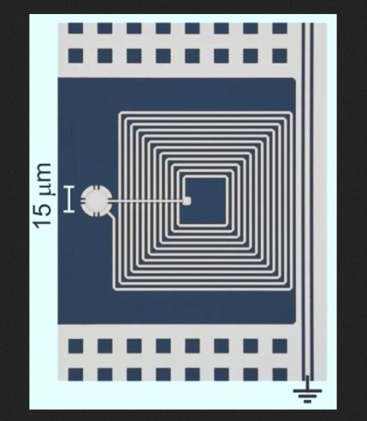Researchers have demonstrated that a micro-drum (shown here in a colorized image with a circuit) might be used as a memory device in future quantum computers.