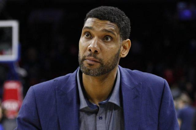 """<a class=""""link rapid-noclick-resp"""" href=""""/nba/players/3173/"""" data-ylk=""""slk:Tim Duncan"""">Tim Duncan</a>'s love of the <a class=""""link rapid-noclick-resp"""" href=""""/nfl/teams/chi/"""" data-ylk=""""slk:Chicago Bears"""">Chicago Bears</a> is well known (AP)"""