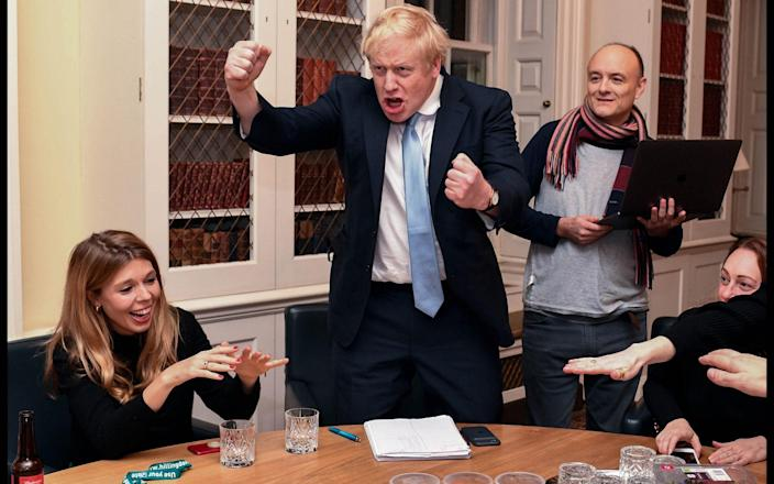 Carrie Symonds, Boris Johnson and Dominic Cummings celebrate the result of the 2019 election - Parsons Media/Andrew Parsons