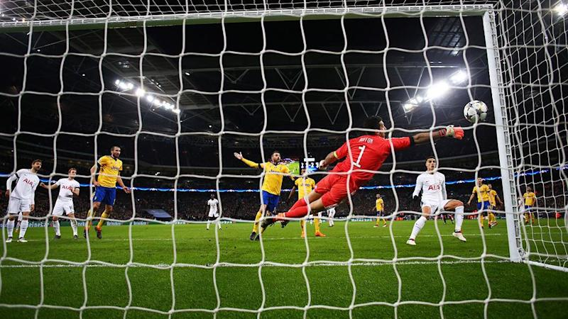 Kane had Buffon beaten only to be denied an equaliser. Pic: Getty