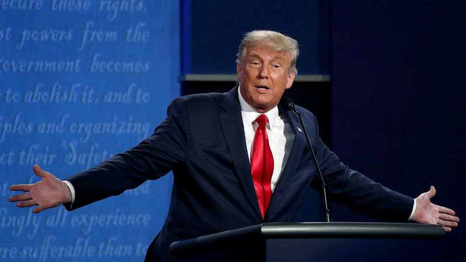 President Donald Trump participates in the final presidential debate against Democratic presidential nominee Joe Biden at Belmont University on October 22, 2020 in Nashville, Tennessee. (Chip Somodevilla/Getty Images)
