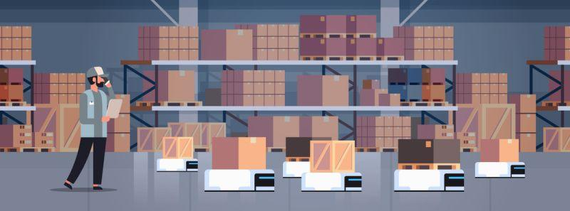 man engineer controlling robot car delivery product factory automation production concept modern warehouse room interior horizontal vector illustration (man engineer controlling robot car delivery product factory automation production concept modern w