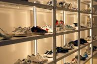 Sneakers of Italian high fashion sneaker brand Golden Goose are displayed at its store in Beijing