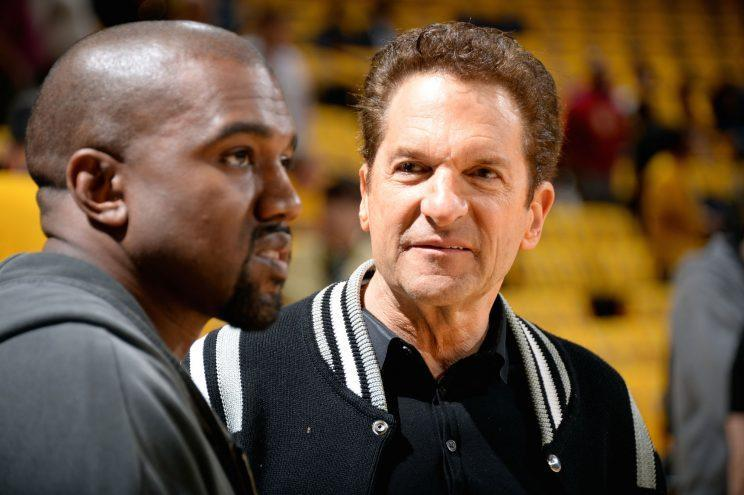 Peter Guber and Kanye West (Photo by Andrew D. Bernstein/NBAE via Getty Images)