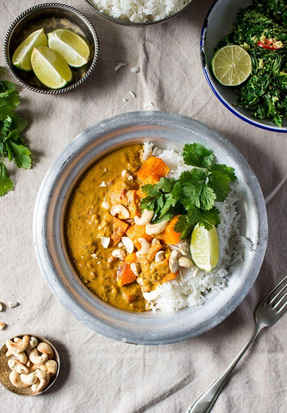 """<p>Served with basmati rice, chopped cashews, and spiced coconut-infused pumpkin curry, this warm dish is sure to satisfy. </p><p><strong>Get the recipe at <a href=""""http://www.lazycatkitchen.com/pumpkin-coconut-curry/"""" rel=""""nofollow noopener"""" target=""""_blank"""" data-ylk=""""slk:Lazy Cat Kitchen"""" class=""""link rapid-noclick-resp"""">Lazy Cat Kitchen</a></strong>. </p>"""