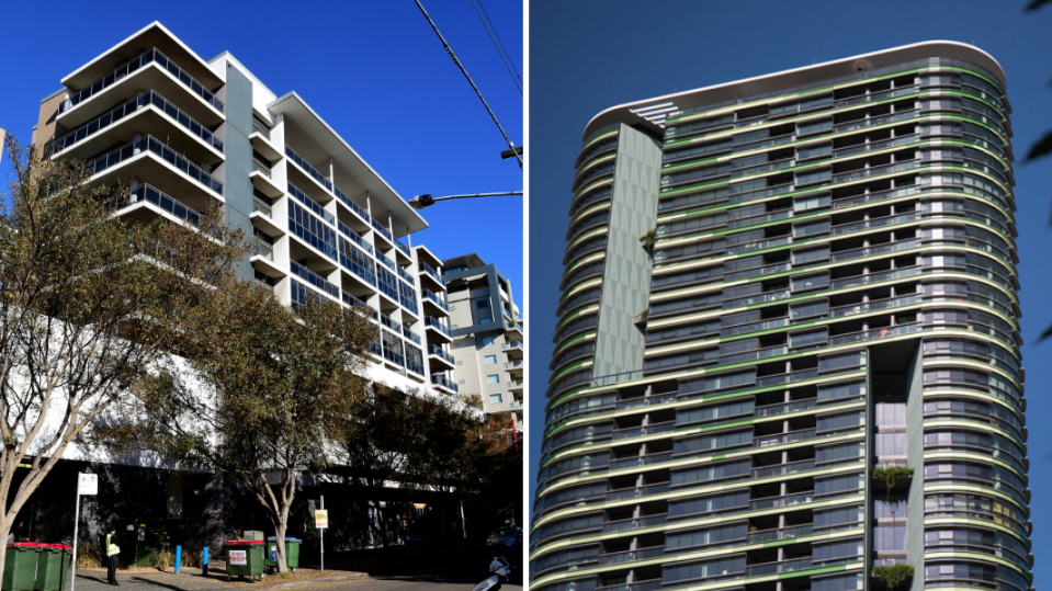 Pictured: High-rise apartment building Opal Tower and Mascot Towers . Images: AAP
