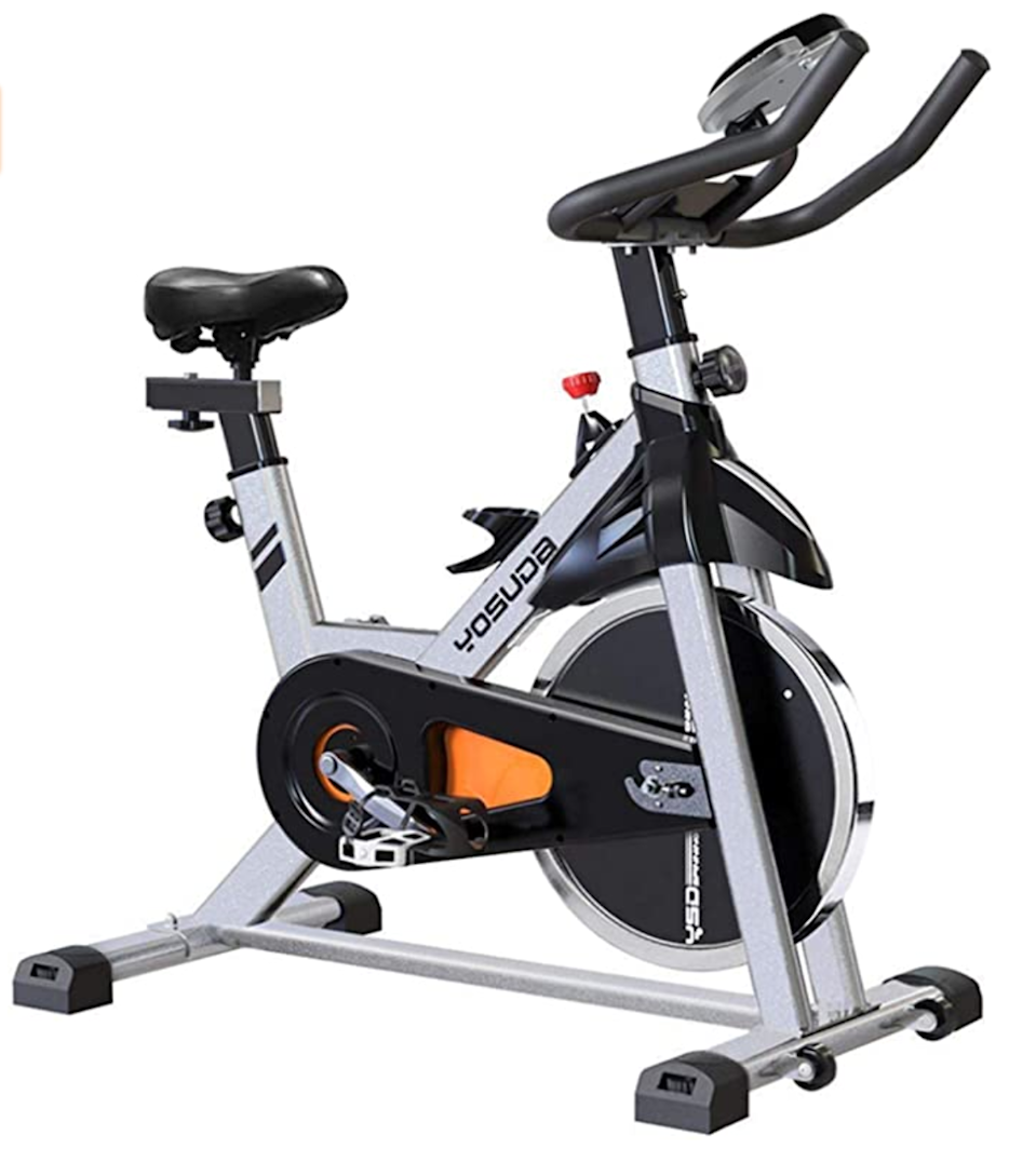 "<br><br><strong>YOSUDA</strong> Indoor Cycling Bike Stationary, $, available at <a href=""https://amzn.to/3nCzLzw"" rel=""nofollow noopener"" target=""_blank"" data-ylk=""slk:Amazon"" class=""link rapid-noclick-resp"">Amazon</a>"