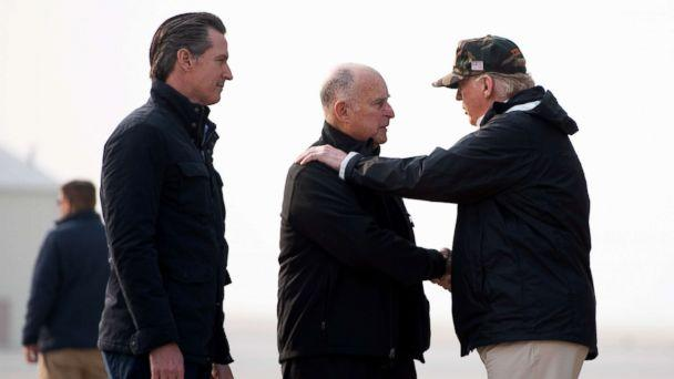 PHOTO: President Donald Trump greets California Governor Jerry Brown and Governor-elect Gavin Newsom, left, arrives at Beale Air Force Base in California, Nov. 17, 2018. (Soel Loeb / AFP / Getty Images)