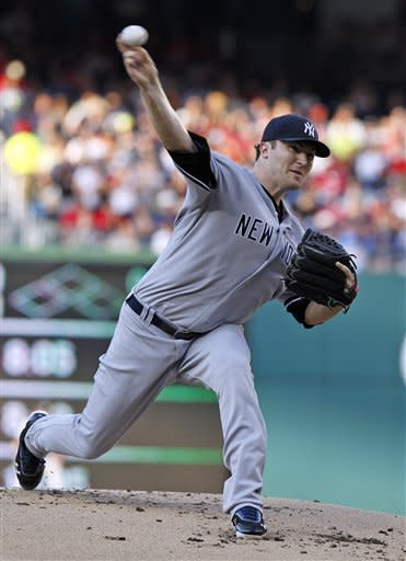 New York Yankees starting pitcher Phil Hughes throws during the first inning of a baseball game against the Washington Nationals at Nationals Park on Friday, June 15, 2012, in Washington.(AP Photo/Alex Brandon)