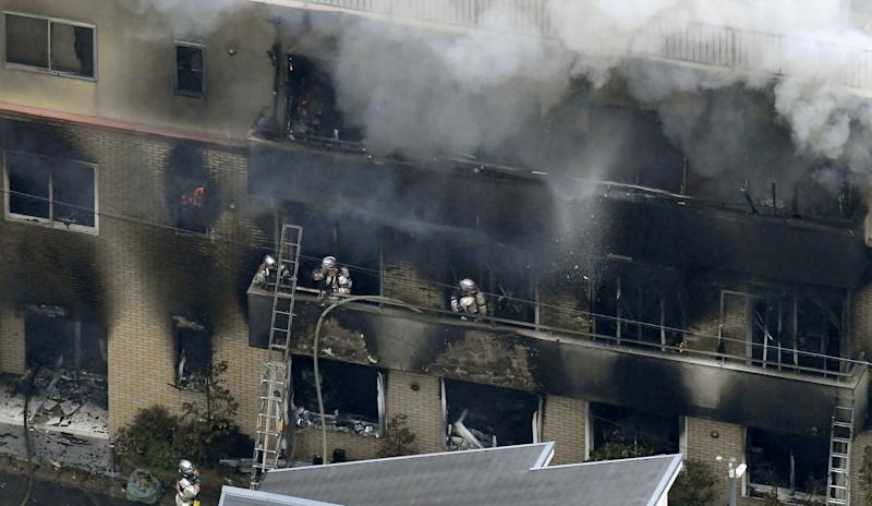 Firefighters tackle the blaze in Japan (Kyodo/via REUTERS)