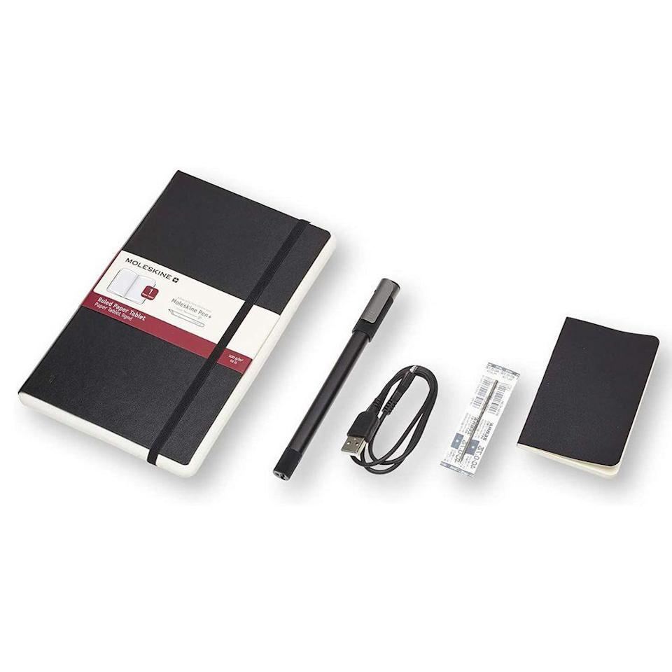 "<p><strong>Moleskine</strong></p><p>amazon.com</p><p><strong>$149.00</strong></p><p><a href=""https://www.amazon.com/dp/B07HSJQNVD?tag=syn-yahoo-20&ascsubtag=%5Bartid%7C10060.g.35574636%5Bsrc%7Cyahoo-us"" rel=""nofollow noopener"" target=""_blank"" data-ylk=""slk:Shop Now"" class=""link rapid-noclick-resp"">Shop Now</a></p><p>Moleskine is the first name many people turn to when shopping for a traditional notebook, so it's no surprise that the company also offers a smart notebook. </p><p>Unlike Rocketbook, Moleskine puts most of the ""smarts"" in the pen portion of this writing set, which uses a camera built into the tip that's able to record your pen strokes—it even has a microphone to record audio. You do also need to use it in conjunction with one of Moleskine's paper tablet notebooks but, unlike a Rocketbook, they're not erasable. That means you can keep your paper notes as well, but you will have to keep buying notebooks as they fill up.</p>"