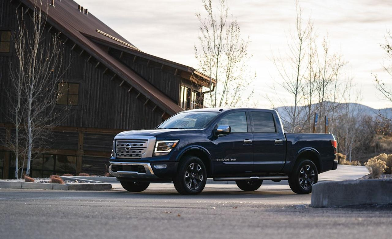 """<p>Mid-cycle updates for the 2020 Nissan Titan bring more power and technology to the brand's full-size pickup, although it still lags behind most of its competitors. Read the full story <a href=""""https://www.caranddriver.com/reviews/a29809750/2020-nissan-titan-drive/"""" target=""""_blank"""">here</a>.</p>"""