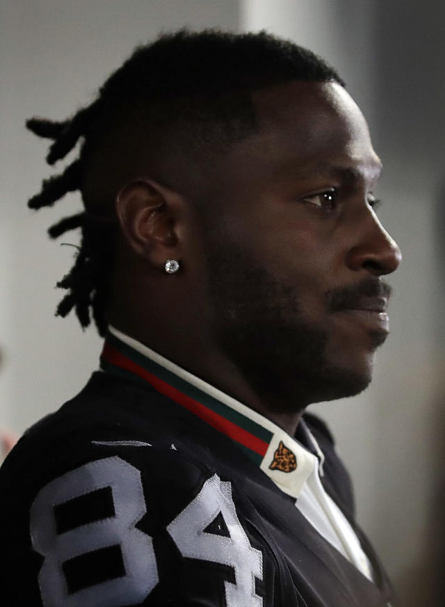 Oakland Raiders wide receiver Antonio Brown answers questions during the NFL football team's news conference Wednesday, March 13, 2019, in Alameda, Calif. (AP Photo/Ben Margot)