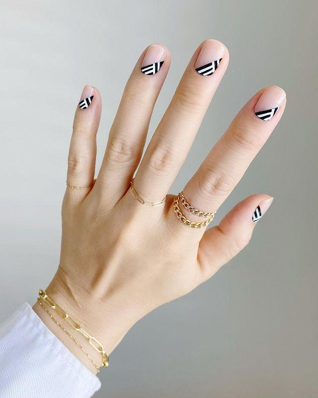 "<p>2020's take on negative space nail art? Simply leave two thirds of your nail bare and adorn the bottom section a monochrome chevron print.</p><p><a href=""https://www.instagram.com/p/CAngSFDnFev/?utm_source=ig_embed&utm_campaign=loading"" rel=""nofollow noopener"" target=""_blank"" data-ylk=""slk:See the original post on Instagram"" class=""link rapid-noclick-resp"">See the original post on Instagram</a></p>"