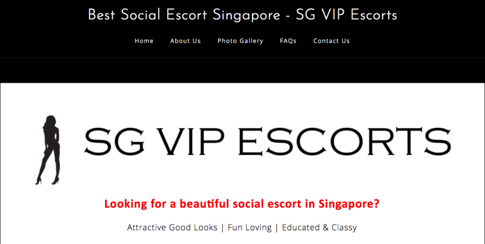 A screengrab taken from the main page of the SG VIP Escorts website.