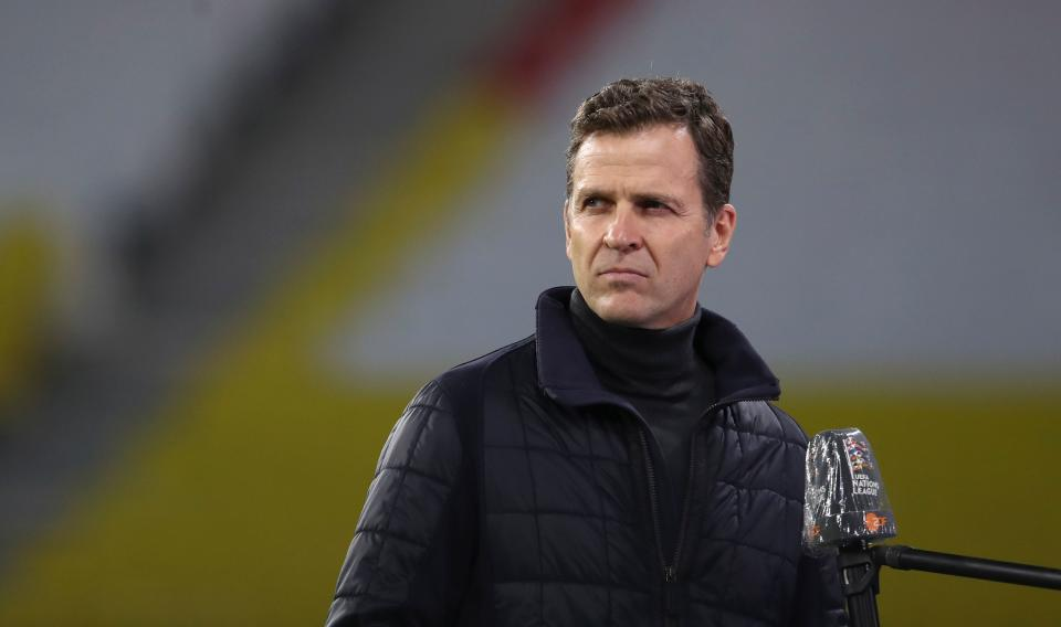 Oliver Bierhoff, national team director of the German Football Association (DFB), gives an interview prior to the UEFA Nations League Group 4 football match of Germany vs Ukraine on November 14, 2020 at the Red Bull Arena stadium in Leipzig, eastern Germany. (Photo by Ronny HARTMANN / AFP) (Photo by RONNY HARTMANN/AFP via Getty Images)