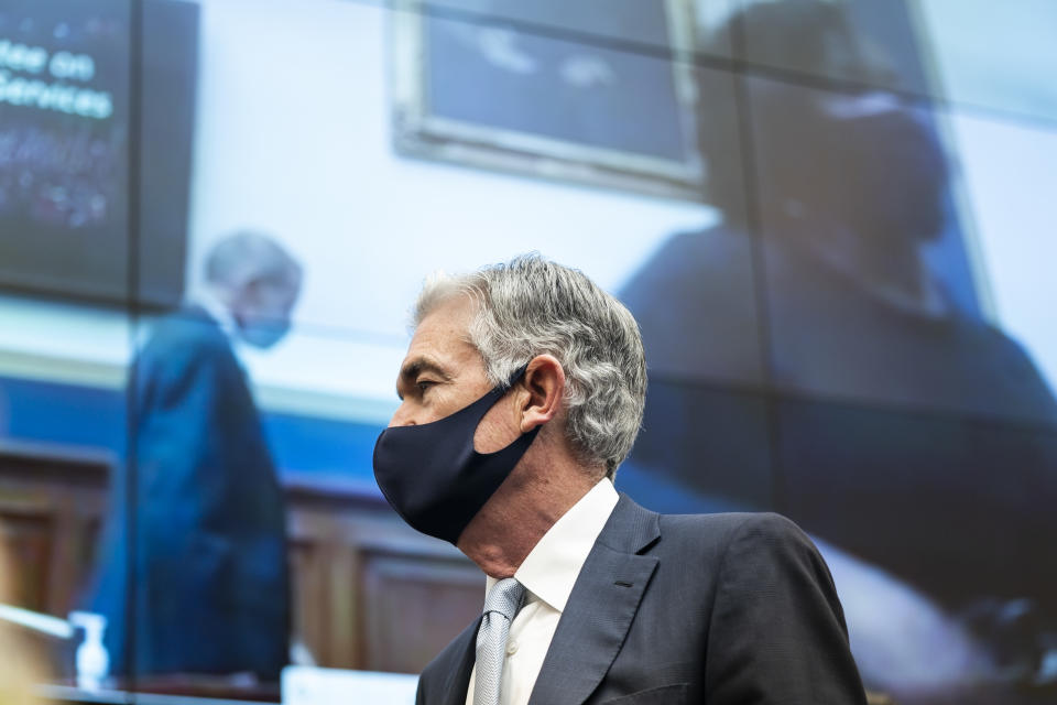 WASHINGTON, DC - DECEMBER 02: Federal Reserve Chair Jerome Powell prepares to speak at a House Financial Services Committee hearing on Oversight of the Treasury Department's and Federal Reserve's Pandemic Response in the Rayburn House Office Building on December 2, 2020 in Washington, DC. (Photo by Jim Lo Scalzo -Pool/Getty Images)