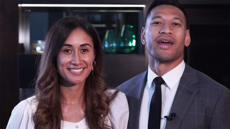 Maria and Israel Folau have posted a video on YouTube, thanking supporters after reaching a settlement with Rugby Australia in the former Wallaby's unfair dismissal lawsuit. Picture: Israel Folau/YouTube