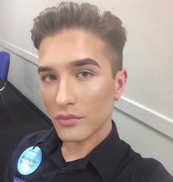 Man claims discrimination at work for wearing makeup