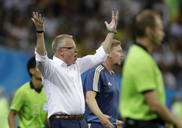 Sweden head coach Janne Andersson reacts during the group F match between Germany and Sweden at the 2018 soccer World Cup in the Fisht Stadium in Sochi, Russia, Saturday, June 23, 2018. (AP Photo/Michael Probst)