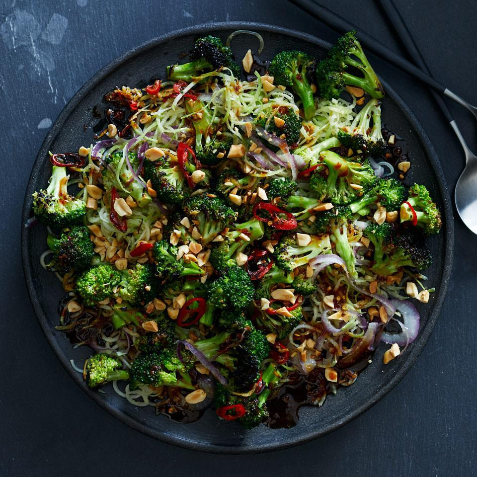 <p>Spiralized broccoli stems transform into tender noodles in this lo mein-inspired vegetarian recipe. Serve on top of brown rice or buckwheat soba noodles.</p>