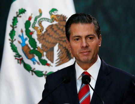 FILE PHOTO: Mexico's President Enrique Pena Nieto gives a speech to the media at the National Palace in Mexico City