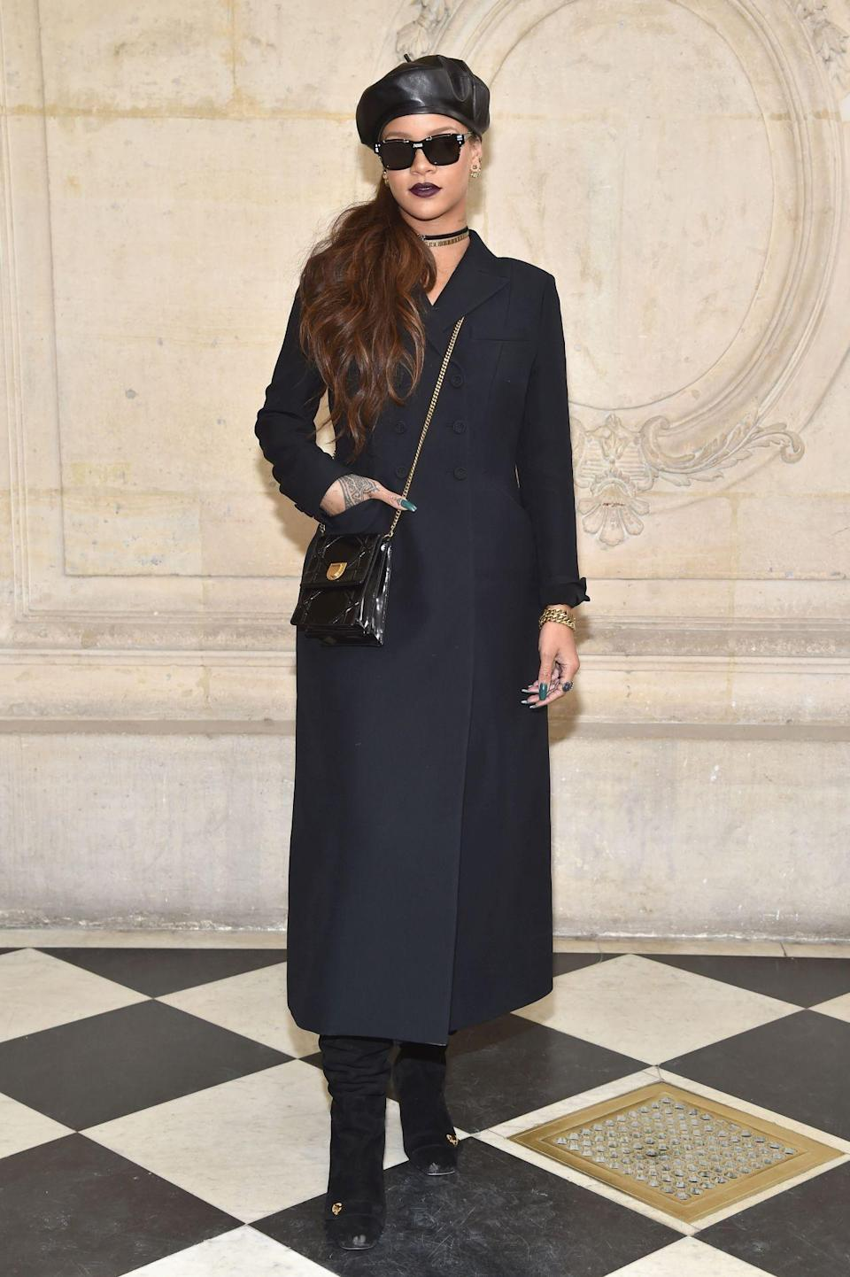 <p>Rihanna rocked a full French look – complete with a beret. <i>[Photo: Getty]</i> </p>