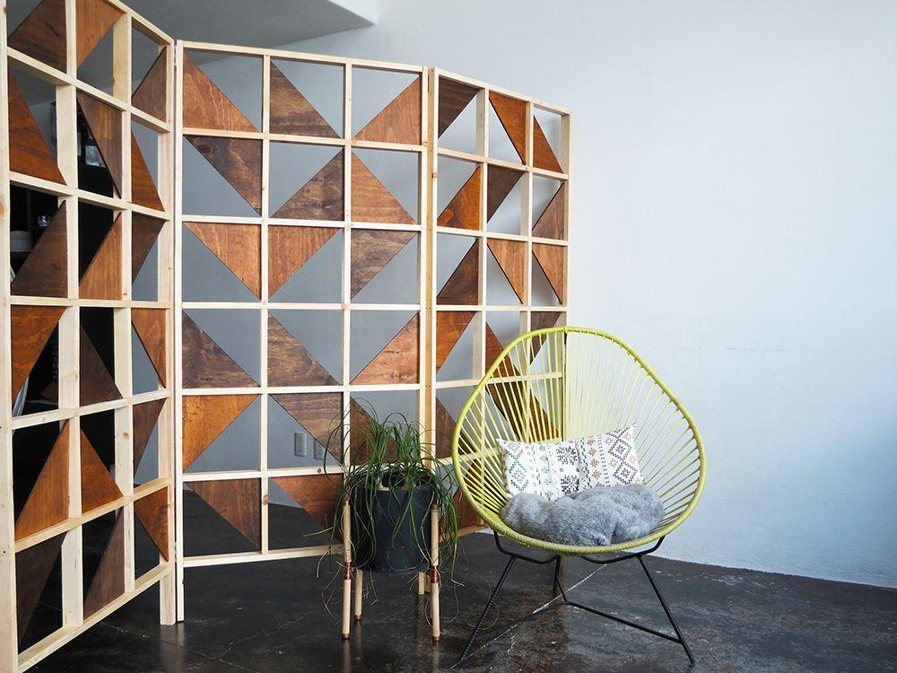 """<p>When you live in a small studio apartment, it can often feel like you have little to no privacy. To aid in the matter, try adding one of these geometric room dividers into the mix.</p><p><strong>Get the tutorial at </strong><a href=""""https://www.ohohdeco.com/diy-room-divider/"""" target=""""_blank""""><strong>Ohoh Deco</strong></a><strong>. </strong></p><p><a class=""""body-btn-link"""" href=""""https://www.amazon.com/Gorilla-Wood-Glue-ounce-Bottle/dp/B001E4E3KY/ref=asc_df_B001E4E3KY/?tag=syn-yahoo-20&ascsubtag=%5Bartid%7C10050.g.31207486%5Bsrc%7Cyahoo-us"""" target=""""_blank""""><strong>SHOP WOOD GLUE</strong></a></p>"""