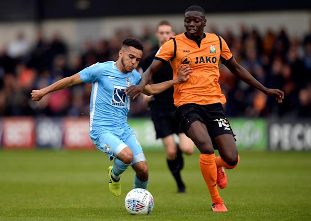 "Soccer Football - League Two - Barnet vs Coventry City - The Hive, London, Britain - October 7, 2017 Coventry City's Devon Kelly-Evans in action with Barnet's Wesley Fonguck Action Images/Adam Holt EDITORIAL USE ONLY. No use with unauthorized audio, video, data, fixture lists, club/league logos or ""live"" services. Online in-match use limited to 75 images, no video emulation. No use in betting, games or single club/league/player publications. Please contact your account representative for further details."
