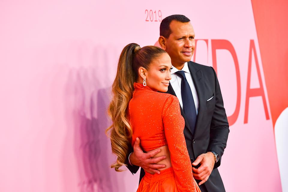 NEW YORK, NEW YORK - JUNE 03: Jennifer Lopez and Alex Rodriguez attend the 2019 CFDA Fashion Awards- Arrivals at Brooklyn Museum on June 03, 2019 in New York City. (Photo by Sean Zanni/Patrick McMullan via Getty Images)