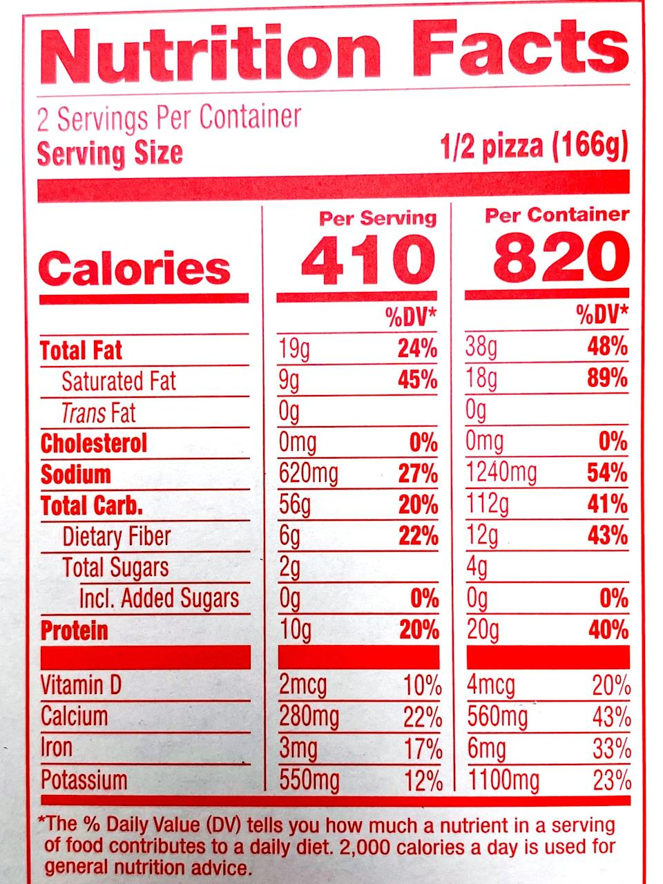<p>A serving size is half the pizza, but I appreciate how the box lists the nutritional info for the entire pizza, because let's be realistic here. But if you split the pizza with a friend, and eat a big salad with it, it's 410 calories, 19 grams of fat, nine grams of saturated fat, zero grams of cholesterol, and has 620 milligrams of sodium. It offers 56 grams of carbs, six grams of fiber, zero grams of added sugar, and has 10 grams of plant-based protein.</p>