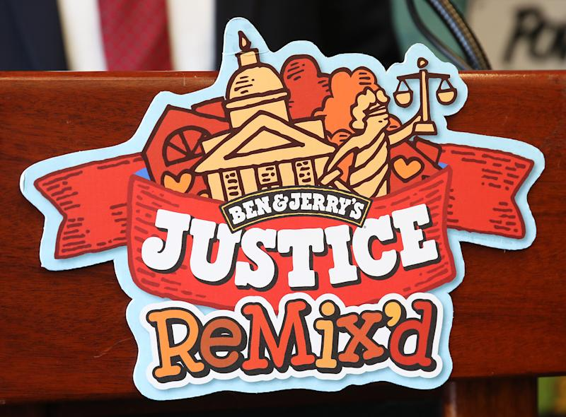 "WASHINGTON, DC - SEPTEMBER 03: Ben & Jerry's announced a new flavor, Justice Remix'd, at a press conference September 03, 2019 in Washington, DC. Ben & Jerry's launched the new flavor in conjunction with the civil rights organization, Advancement Project, to ""spotlight structural racism in a broken criminal legal system"". (Photo by Win McNamee/Getty Images)"