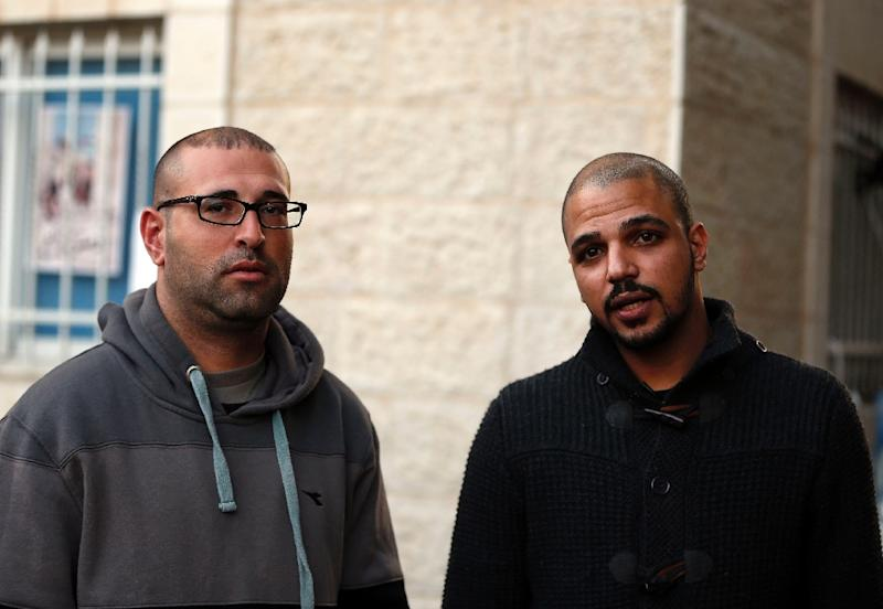 Samer Abu Eisheh (R) and Hijazi Abu Sbeih, the two Palestinian men who refused to heed a military expulsion order from their hometown of Jerusalem, have been arrested (AFP Photo/Ahmad Gharabli)
