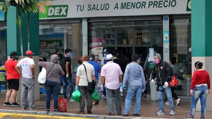 As in many other countries now, long queues form outside Guayaquil's pharmacies