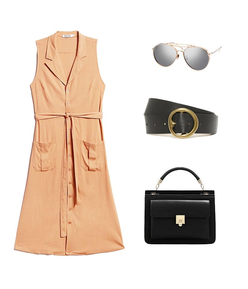 <p>A leather dress is very pricey and not the most breathable summer material, so we suggest opting for a similar mustard colored shirt dress in the same silhouette made of a breezier fabric. Accessorize with a black belt, handbag, and mirrored aviators to capture Dion's look. </p>