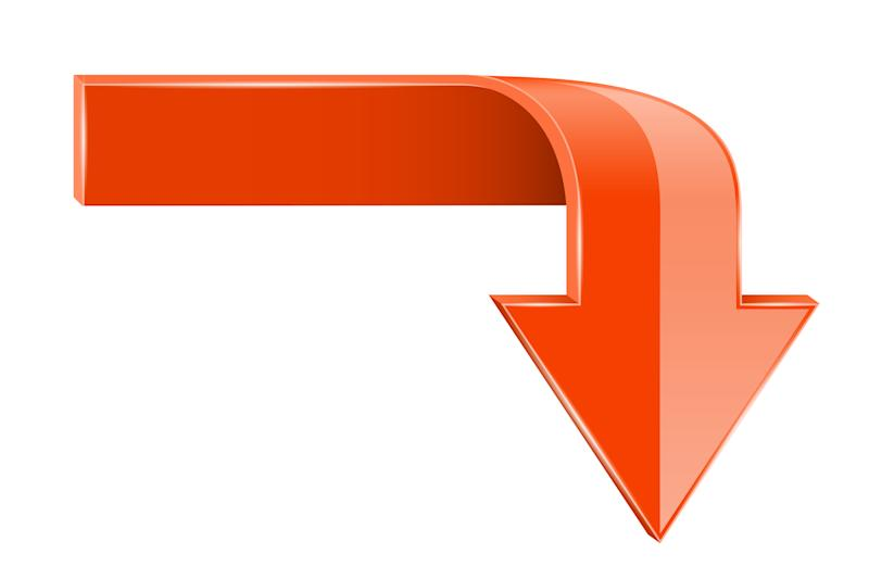 Two-colored orange arrow pointing down.