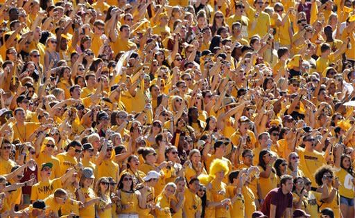 Arizona State fans cheer against UCLA during the first half of an NCAA College football game, Saturday, Oct. 27, 2012, in Tempe, Ariz. (AP Photo/Matt York)