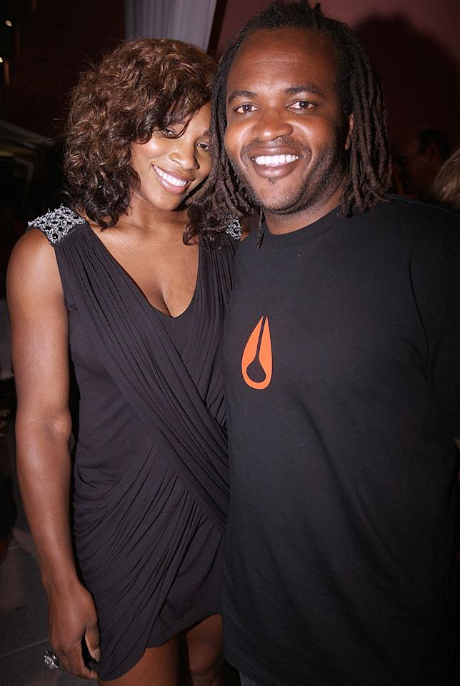 """Also on hand was tennis hottie Serena Williams, who snuggled up to """"Daily 10"""" host Sal Masekela for a pic. Chris Weeks/<a href=""""http://www.wireimage.com"""" target=""""new"""">WireImage.com</a> - August 3, 2010"""