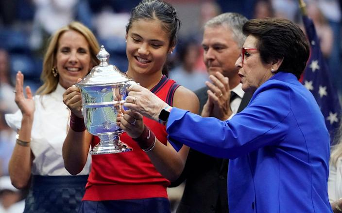 Emma Raducanu and Billie Jean King - Queen leads tributes to Britain's new sporting superstar after Emma Raducanu wins US Open - AP